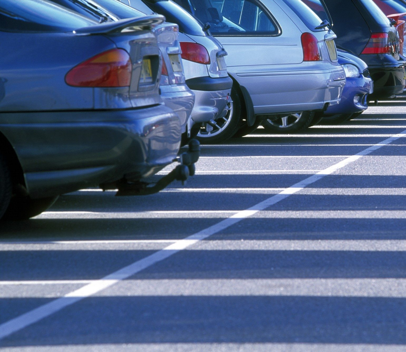 Row of cars in retail car park